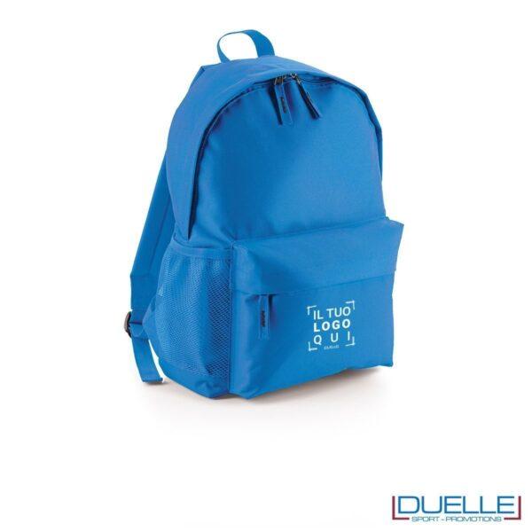 zaino personalizzato colore azzurro, gadget promozionale sport e tempo libero. Zainetto economico da stampare