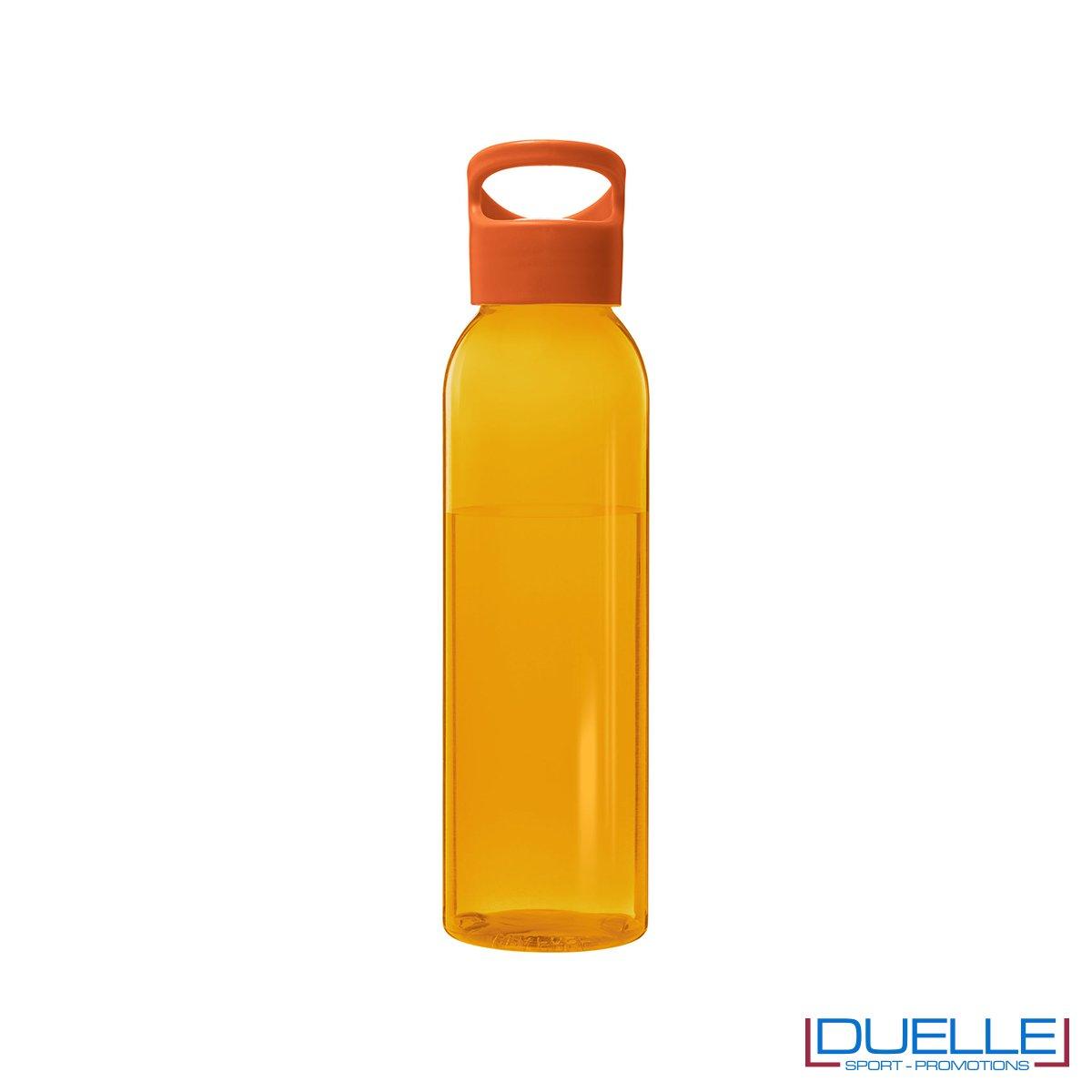 Borraccia in plastica personalizzata con tappo a vite colore arancione, capacità 650ml