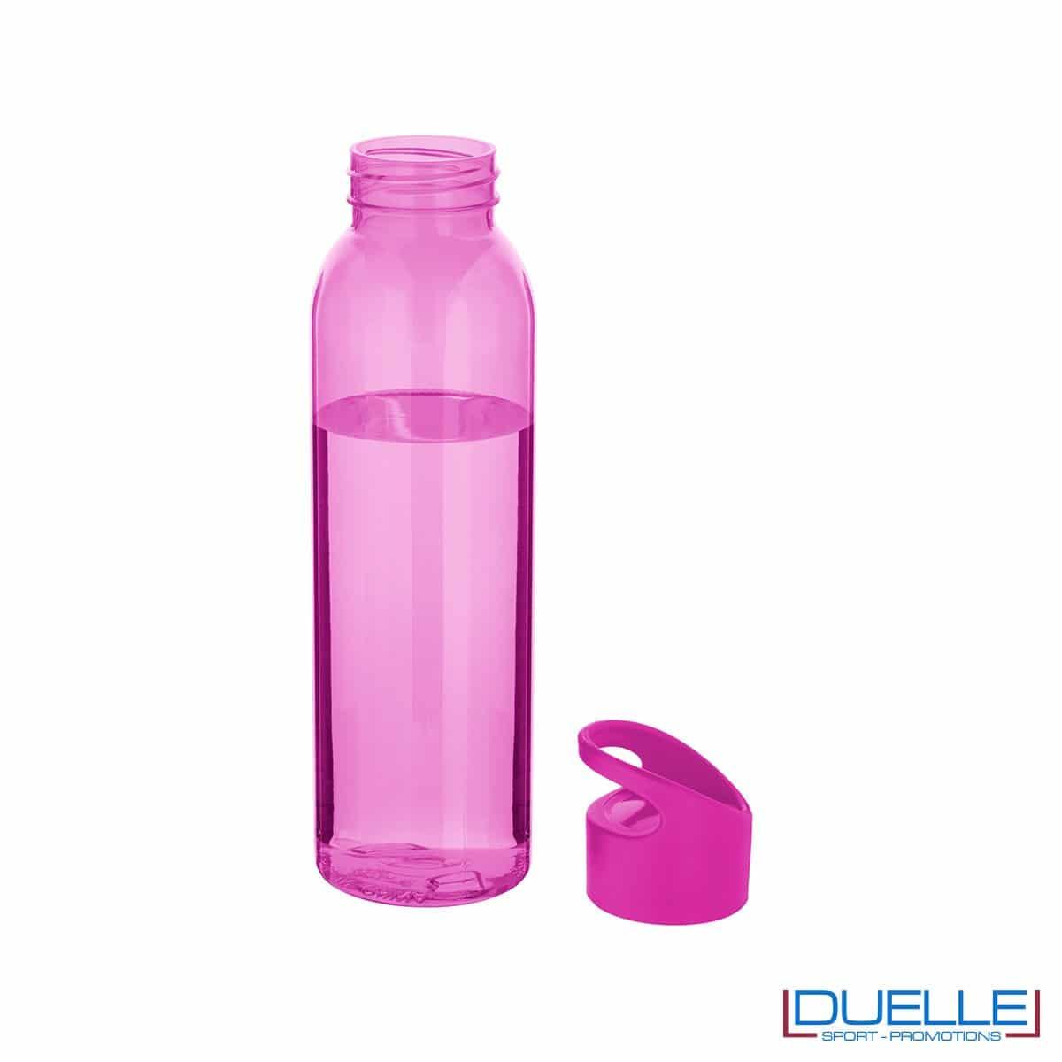 Borraccia in plastica personalizzata con tappo a vite colore fuxia