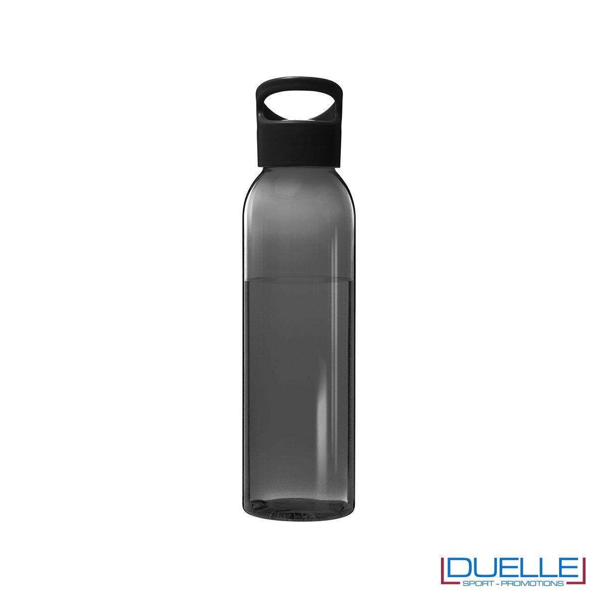 Borraccia in plastica personalizzata con tappo a vite colore nero, capacità 650ml
