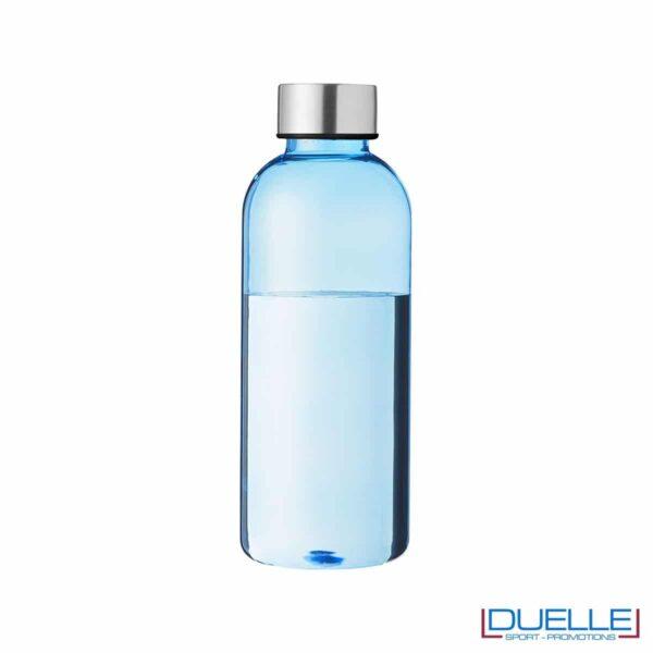 Bottiglia personalizzata in plastica colore azzurro 600 ml