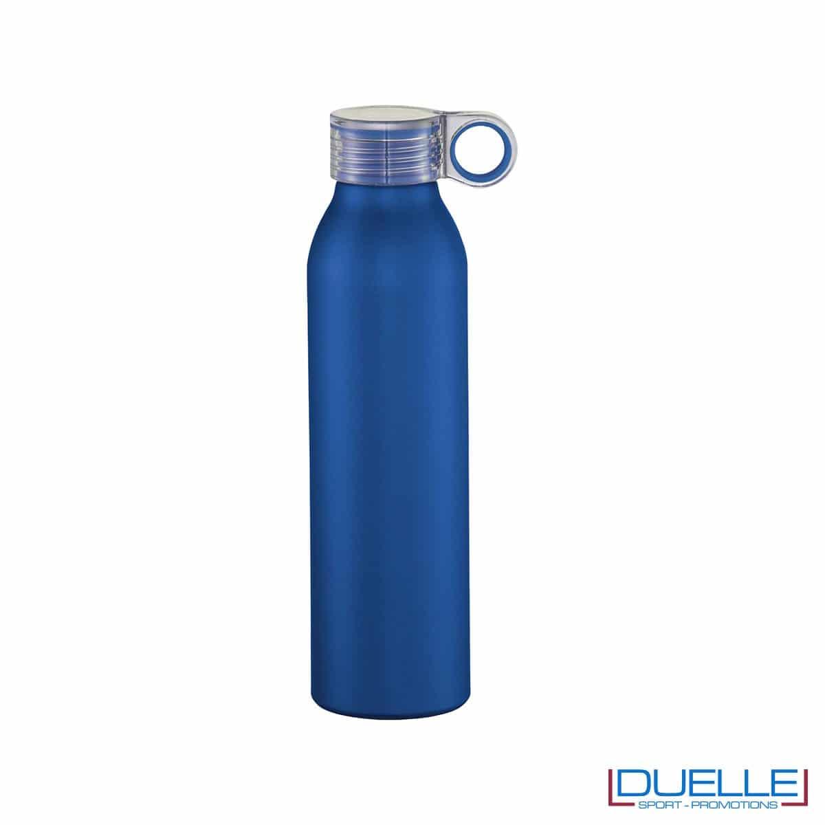 Bottiglia personalizzata in alluminio tappo a vite colore blu
