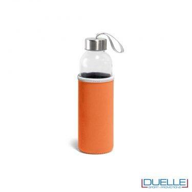 Borraccia in vetro con astuccio personalizzato colore arancione