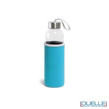 Borraccia in vetro con astuccio personalizzato colore azzurro