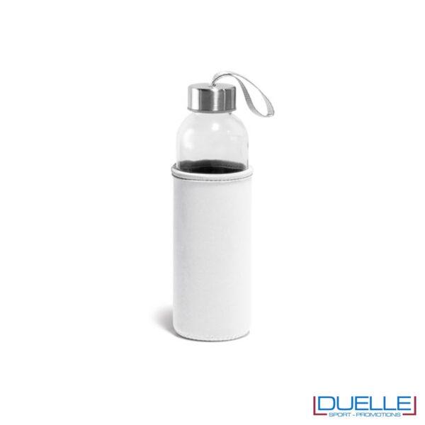 Borraccia in vetro con astuccio personalizzato con stampe colore bianco