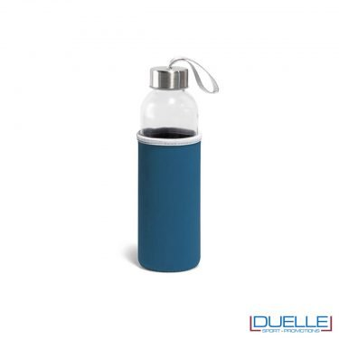 bottiglia in vetro personalizzata con custodia in colore blu