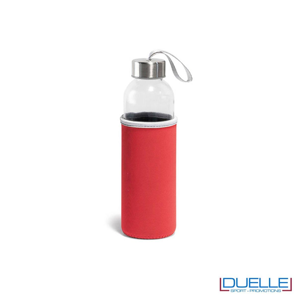 bottiglia in vetro personalizzata con custodia in colore rosso
