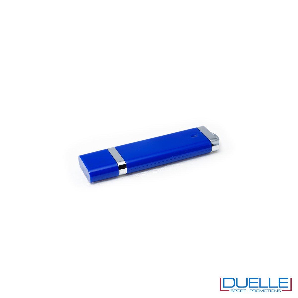 Pennetta USB personalizzata con cappuccio colore blu