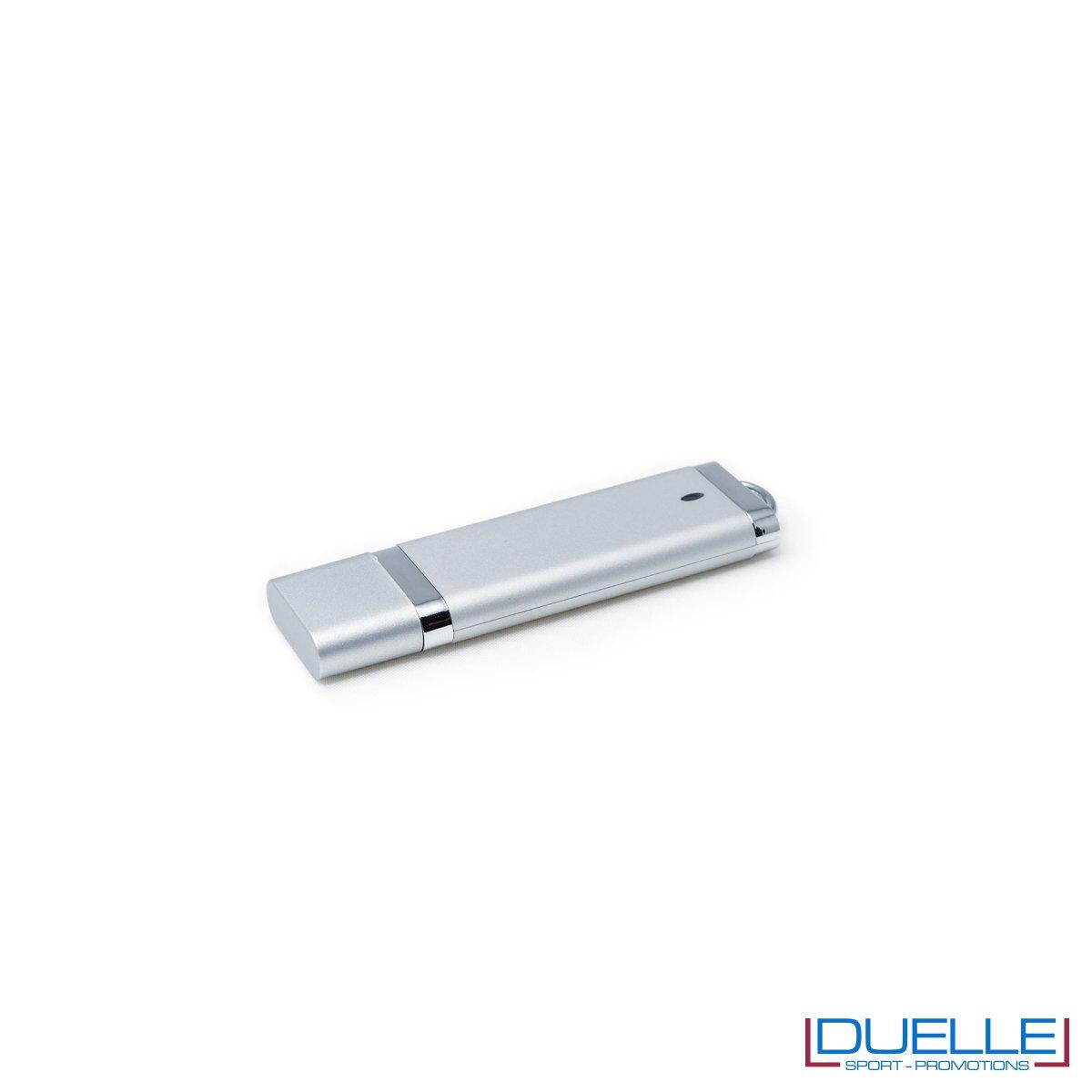 Pennetta USB personalizzata con cappuccio colore silver