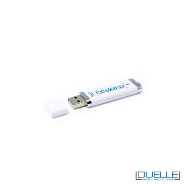 Pennetta USB personalizzata in plastica con cappuccio colore bianco
