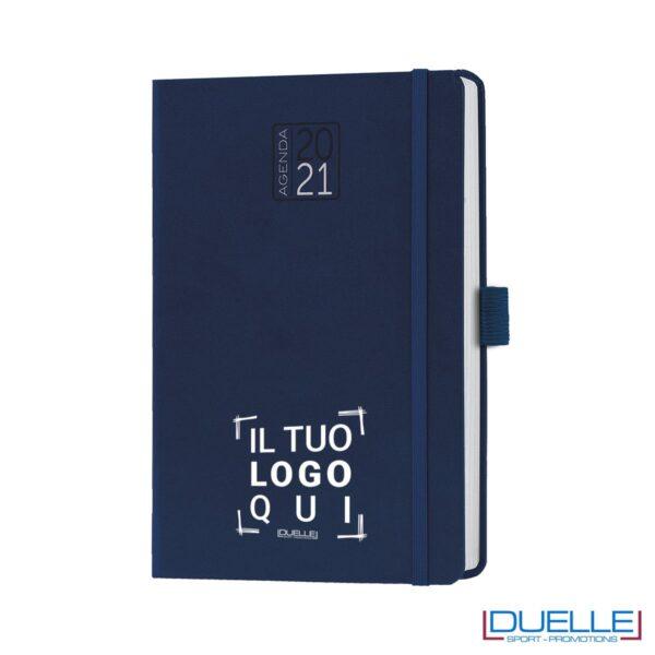 agenda giornaliera 2021 blu con elastico e portapenne