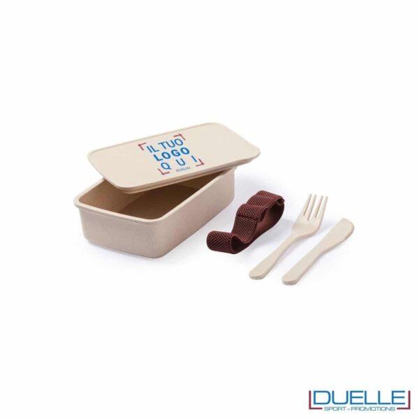 Porta pranzo in fibra di bambù personalizzato con posate, lunch-box per ufficio