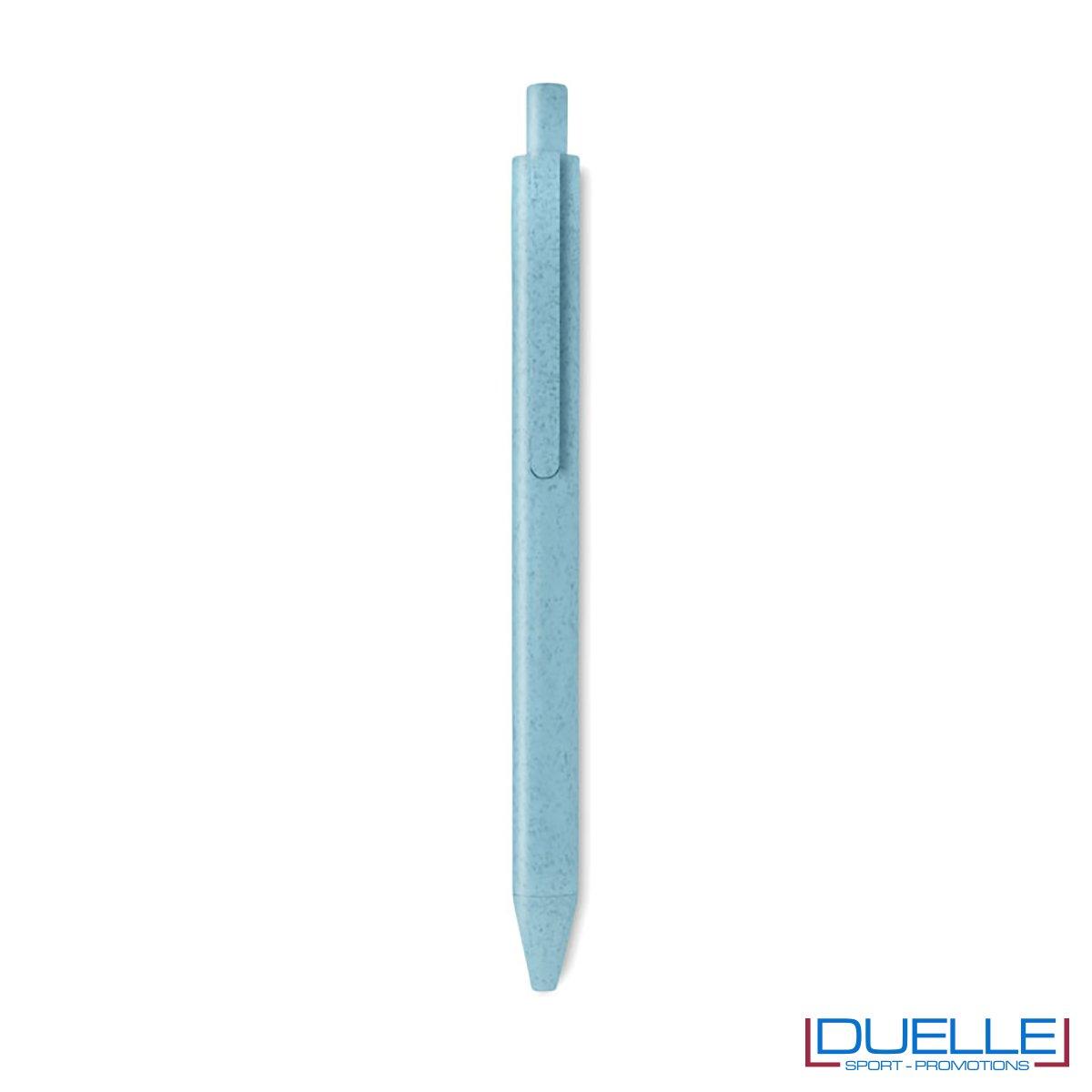 Penna ecologica in fibra di mais personalizzata colore azzurro