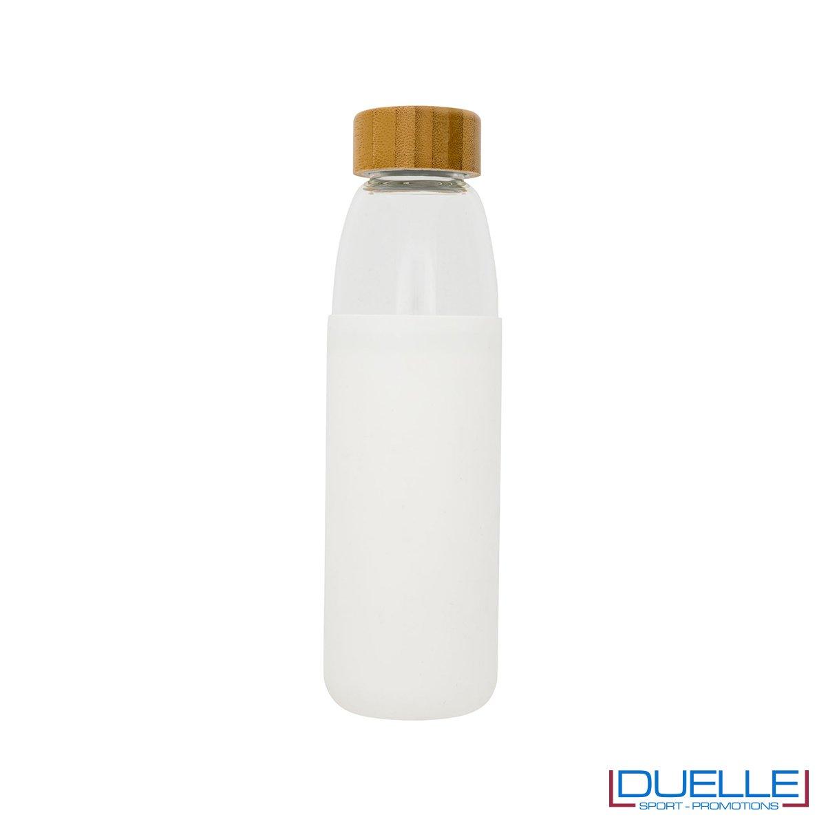 Borraccia in vetro con tappo in legno e cover in silicone colore bianco personalizzata