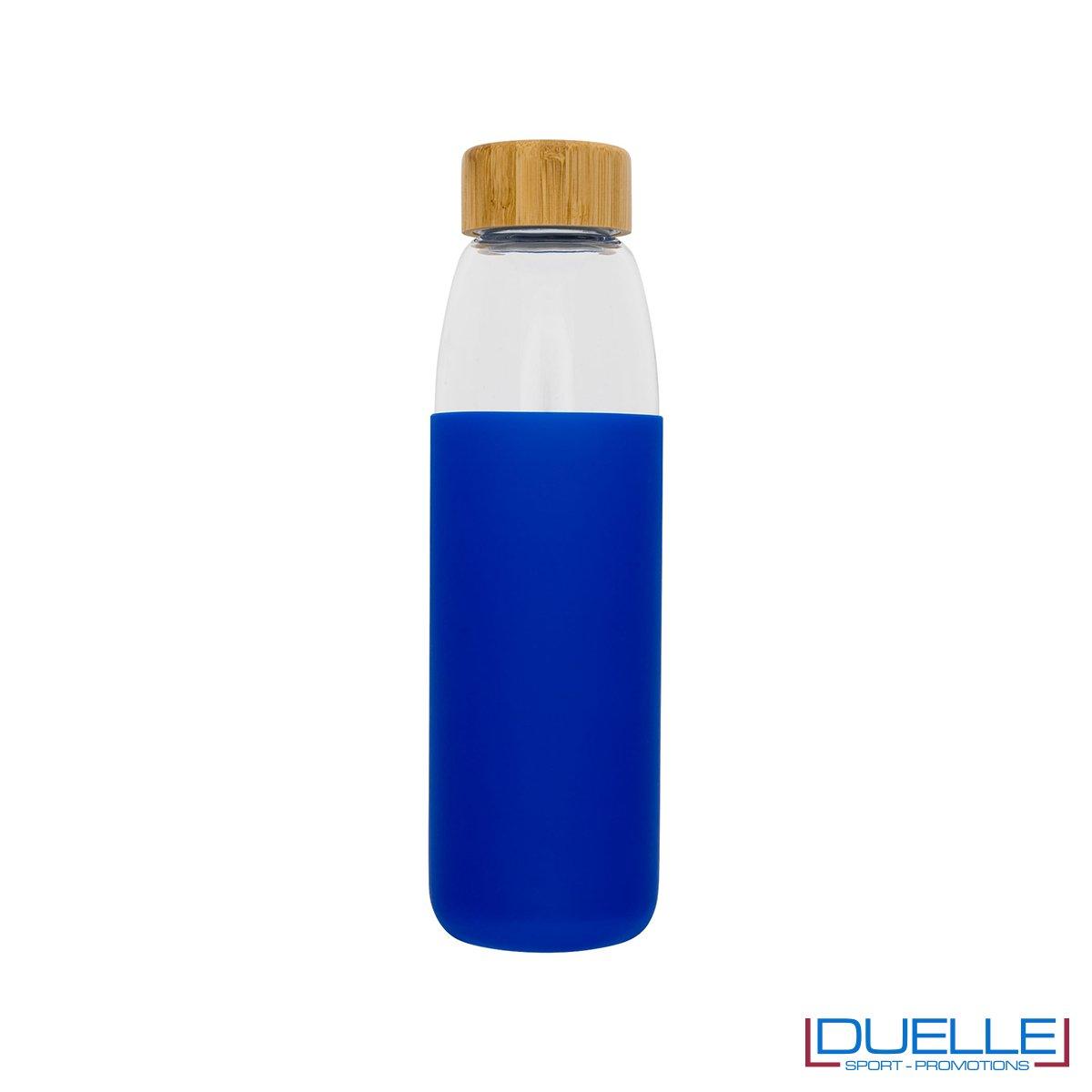 Borraccia vetro con tappo in legno e cover in silicone personalizzata colore blu royal
