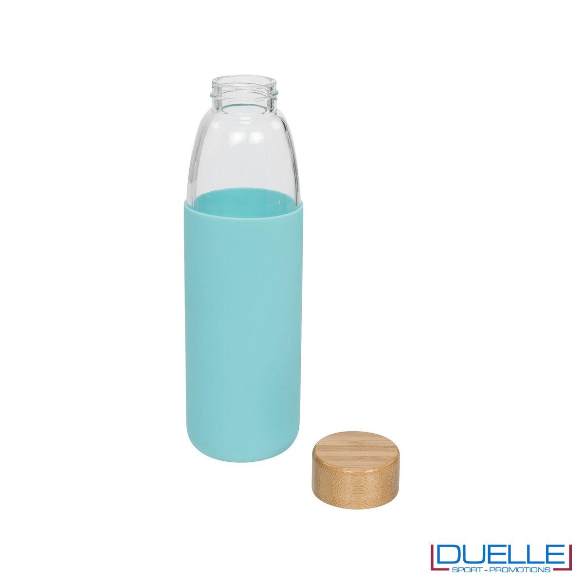 Borraccia vetro con tappo in legno e cover in silicone personalizzata con incisione laser