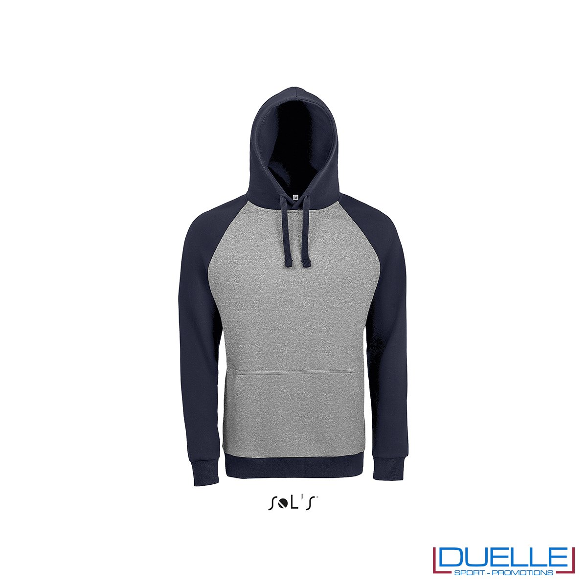 Felpa college con cappuccio personalizzata colore grigio melange-blu navy