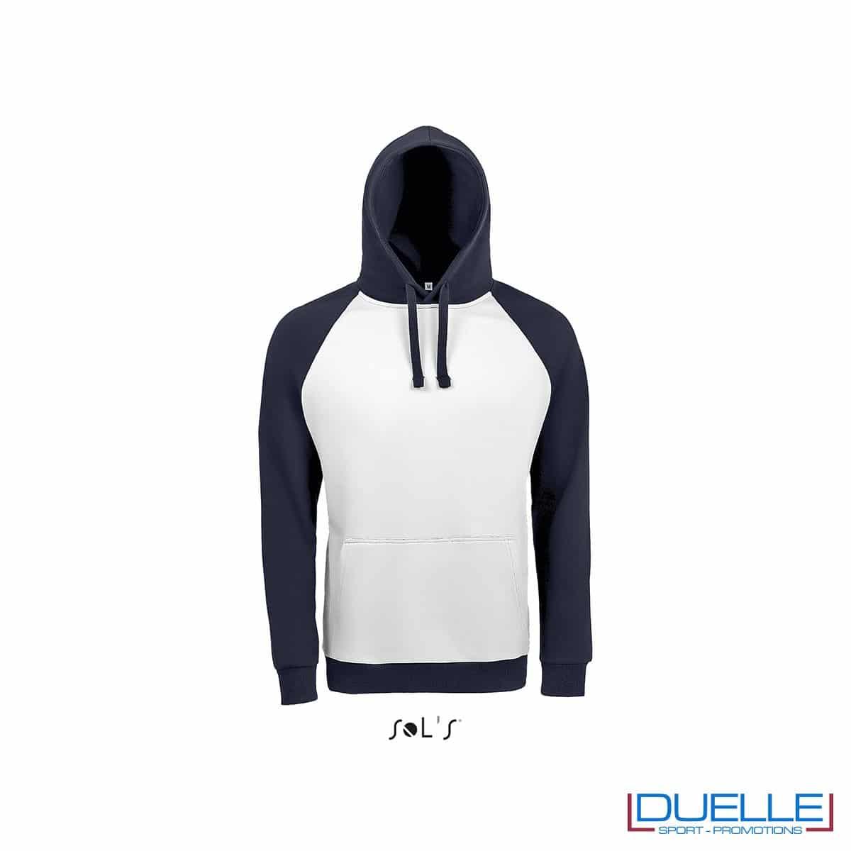 Felpa college con cappuccio personalizzata colore bianco-blu navy