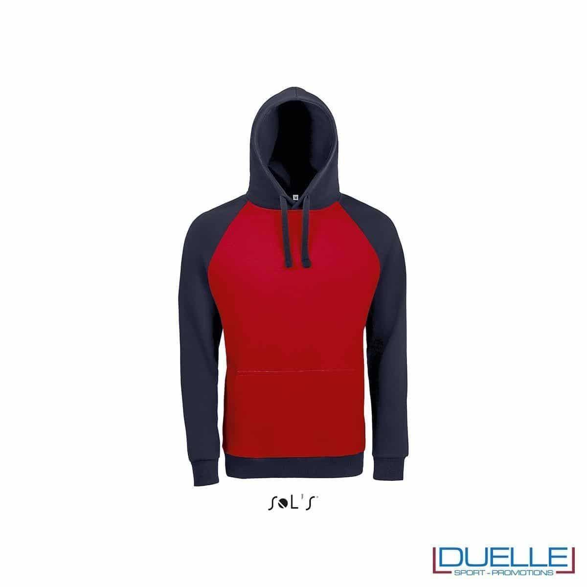 Felpa college con cappuccio personalizzata colore rosso-blu navy