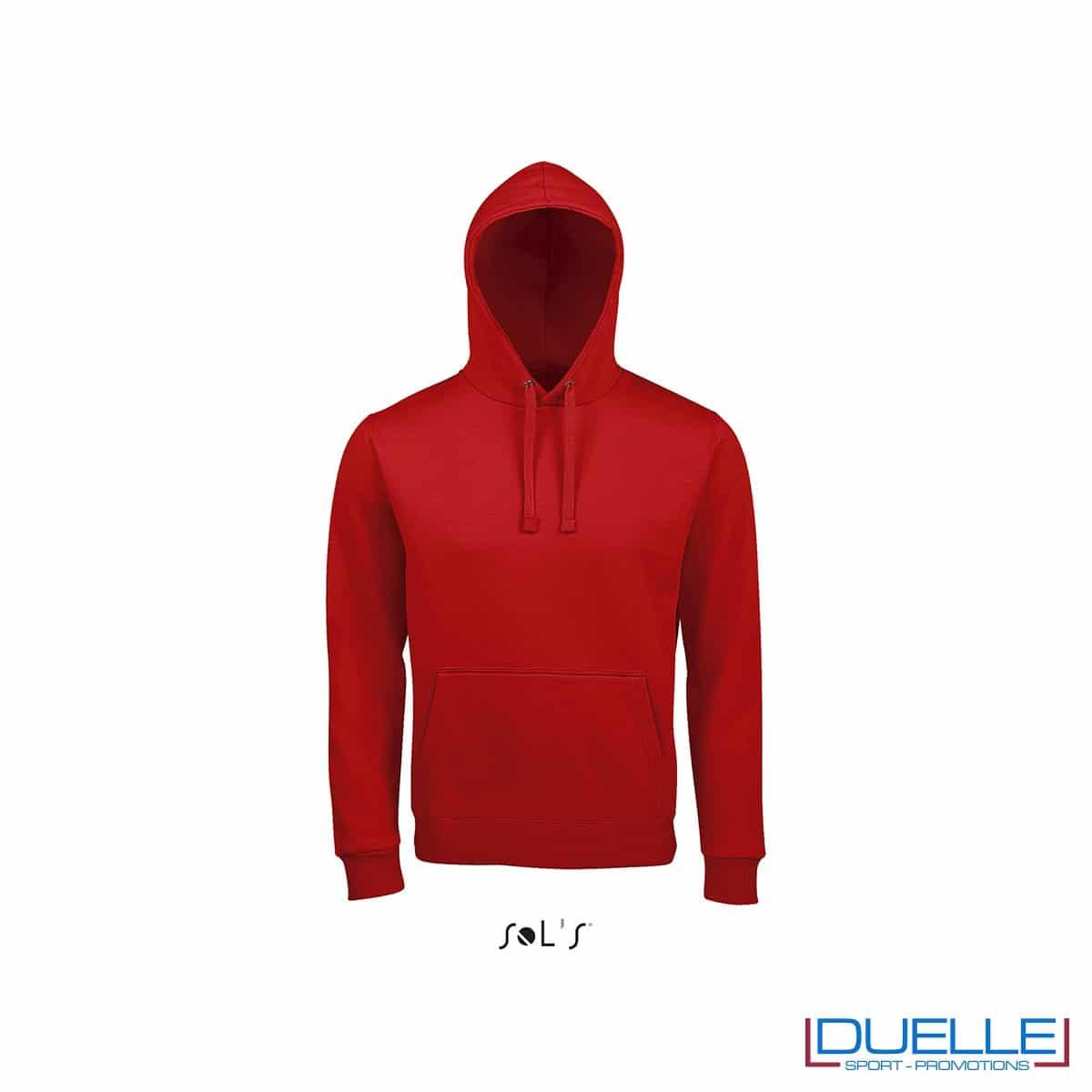 Felpa unisex con cappuccio personalizzata colore rosso