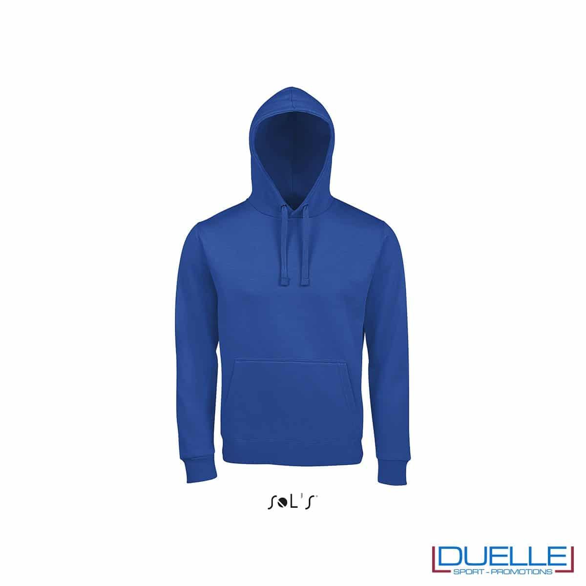 Felpa unisex con cappuccio personalizzata colore blu royal