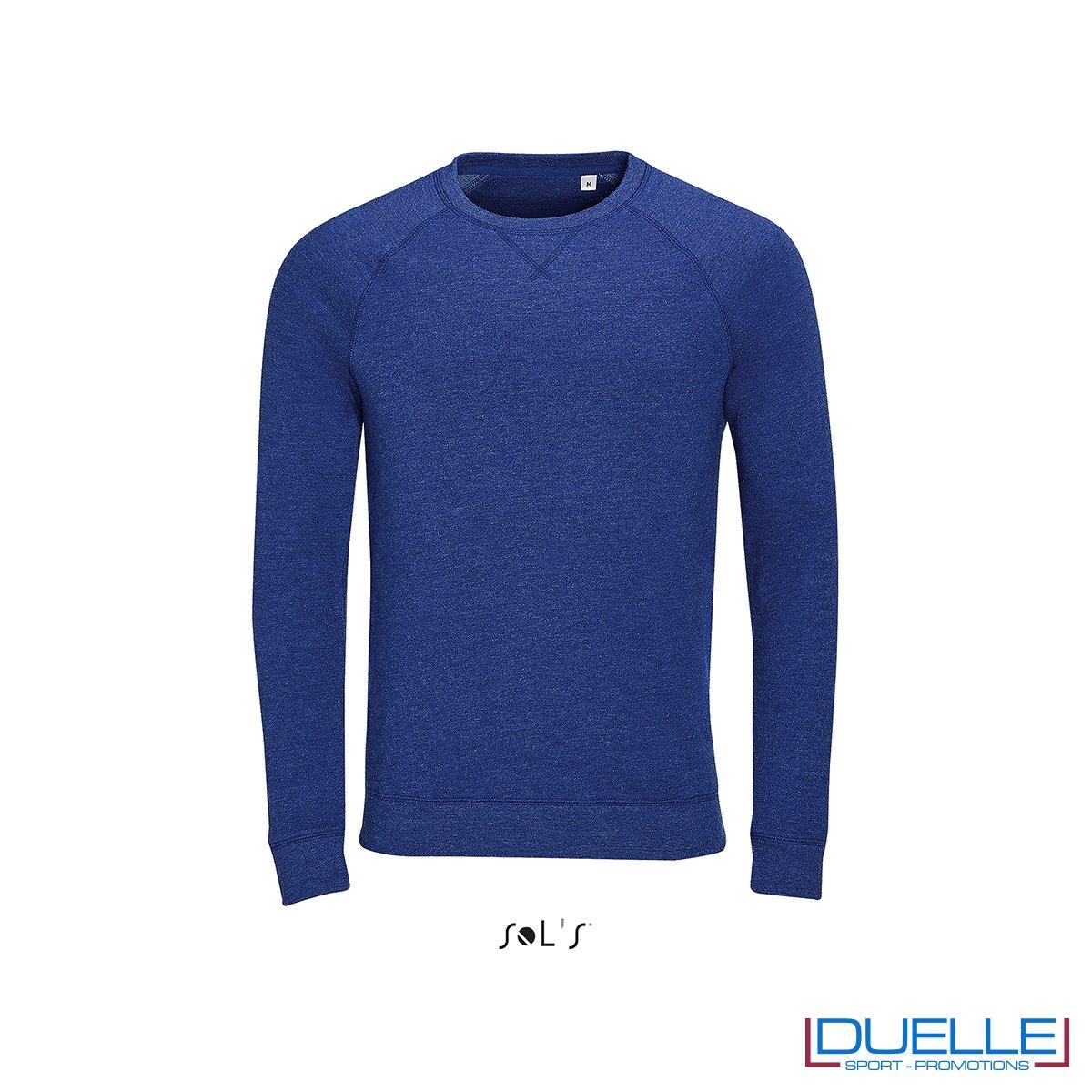 Felpa personalizzata in cotone non felpato colore blu, girocollo con motivo a V sul collo