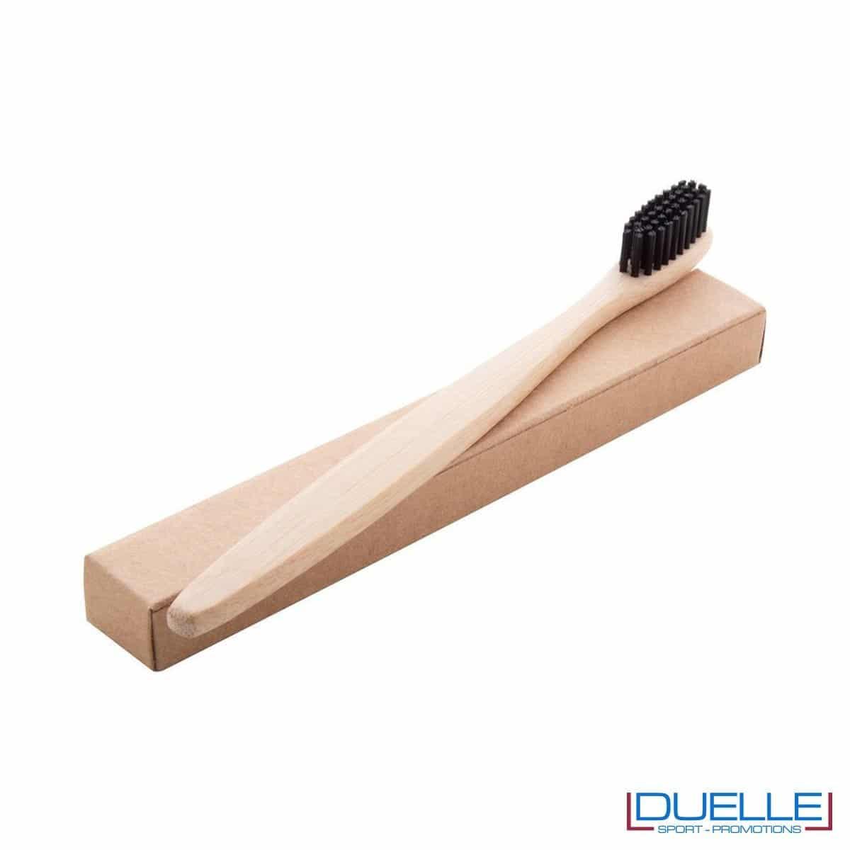 spazzolino in bamboo con setole nero personalizzato con incisione foto della confezione