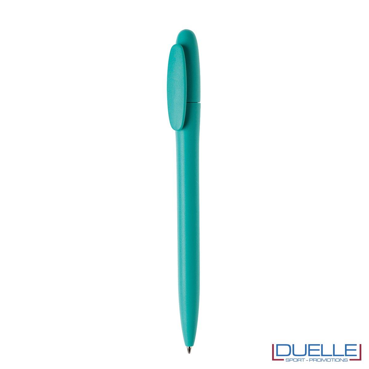 Penna in plastica colore coprente satinato personalizzata azzurro atollo