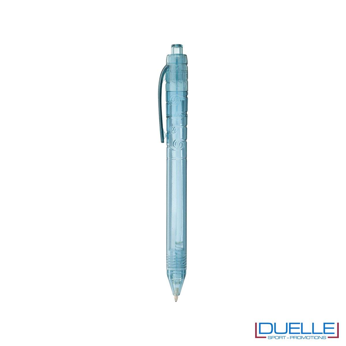 Penna in plastica riciclata PET colore blu trasparente