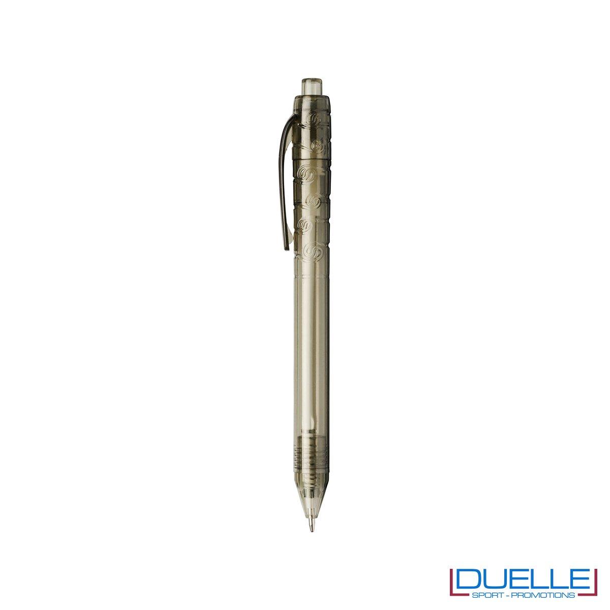 Penna in plastica PET colore nero trasparente personalizzata con stampe