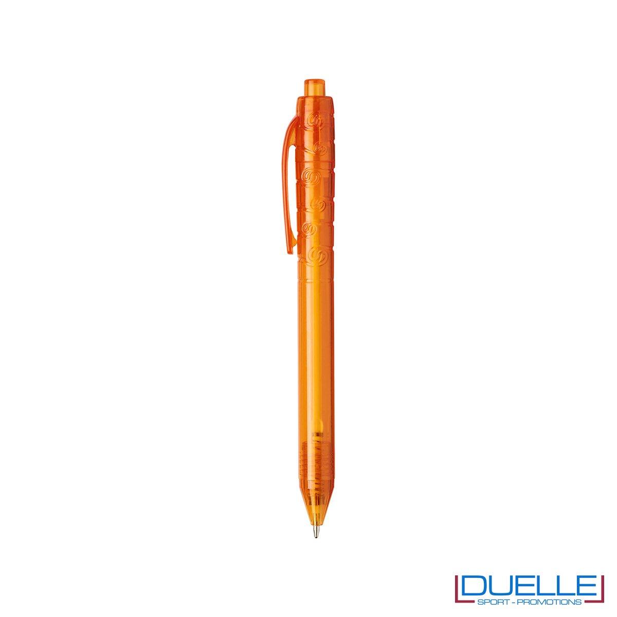 Penna in plastica PET colore arancione trasparente personalizzata con stampe