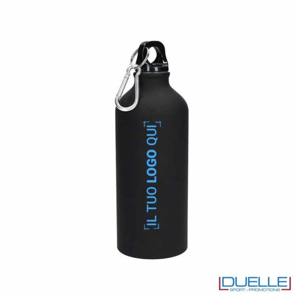 Borraccia sportiva alluminio 600ml personalizzata con incisione laser logo colorato blu