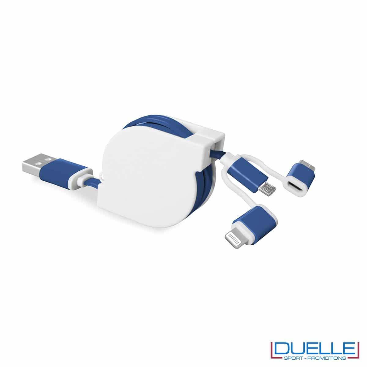 Cavo adattatore 3 in 1 personalizzabile colore blu