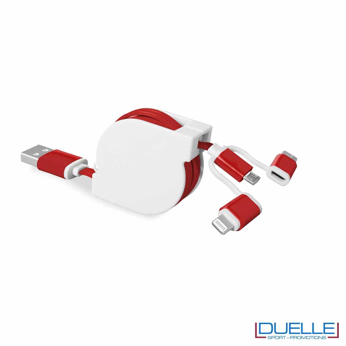Cavo adattatore 3 in 1 personalizzabile colore rosso