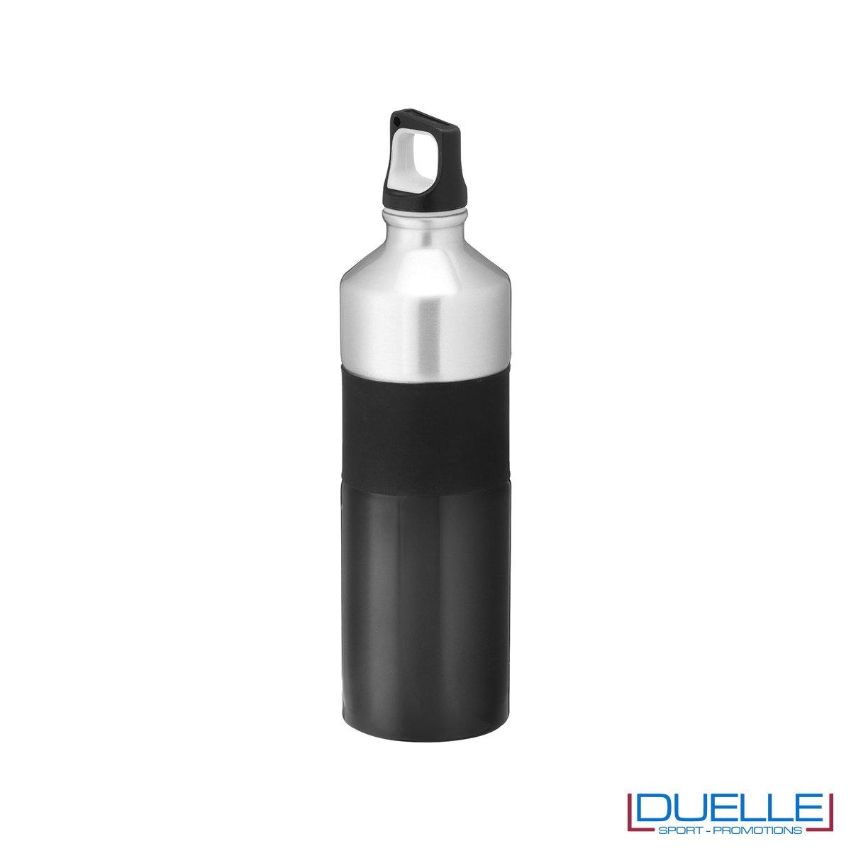 Borraccia in alluminio 750ml colore nero con impugnatura in silicone