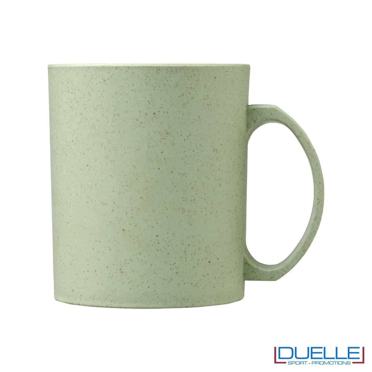 Mug in fibra di paglia di grano colore verde personalizzata con stampa
