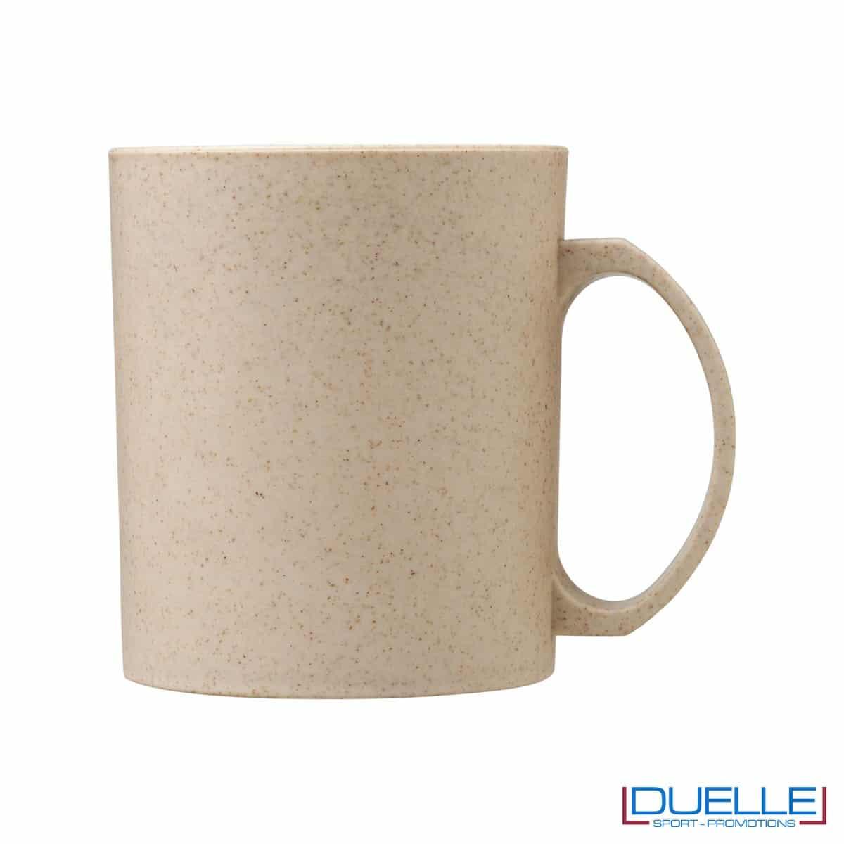 Mug in fibra di paglia di grano colore beige personalizzata con stampa