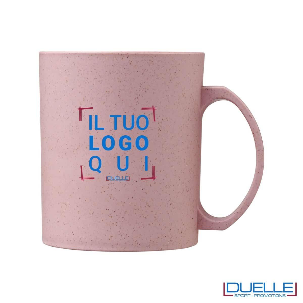 Tazza in fibra di paglia di grano colore rosa personalizzata con stampa
