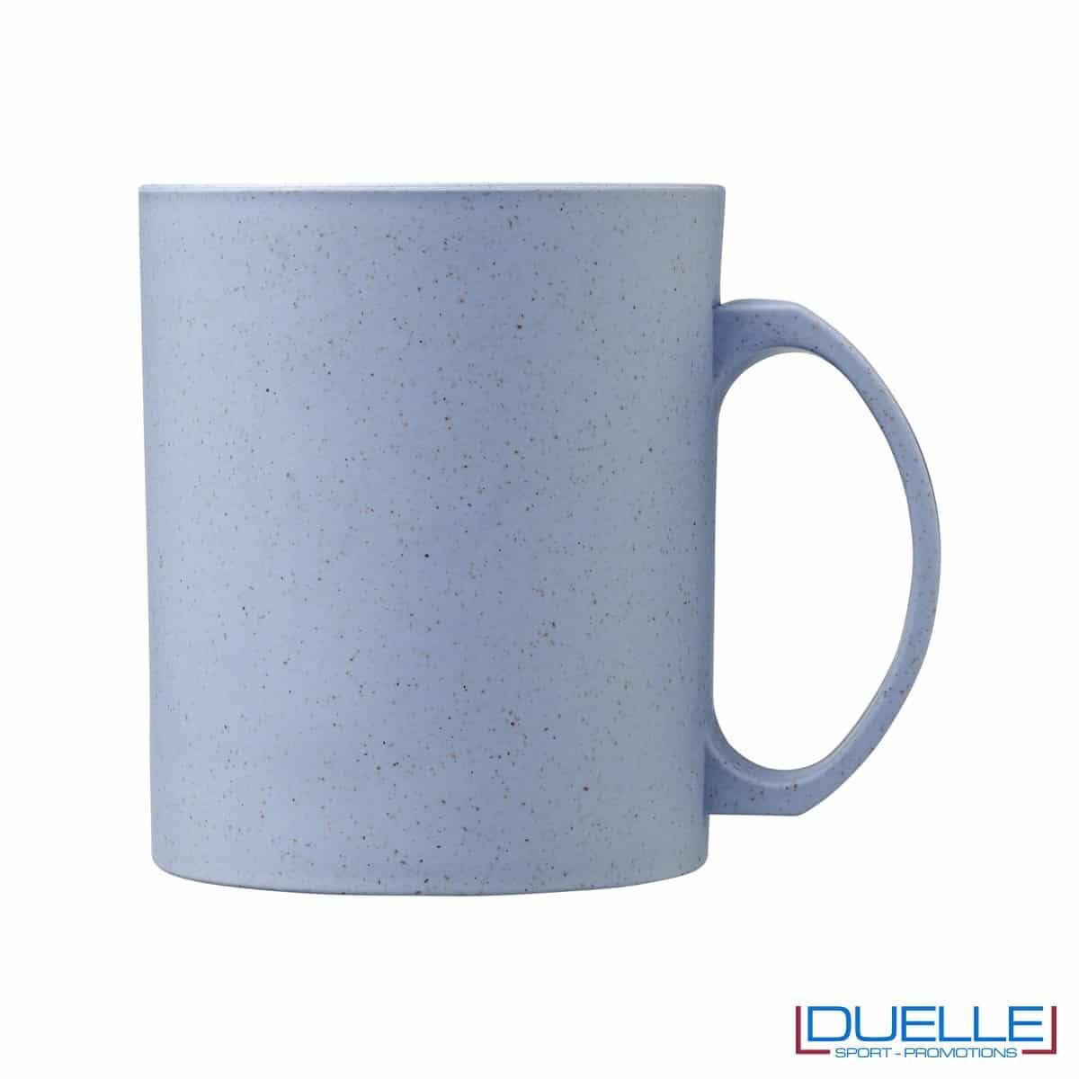 Mug in fibra di paglia di grano colore celeste personalizzata con stampa