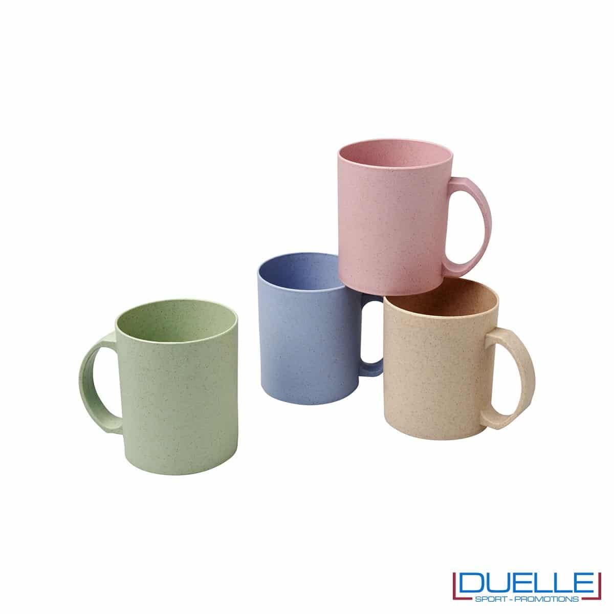 Mug in fibra di paglia di grano e in polipropilene personalizzabile con stampe colorate