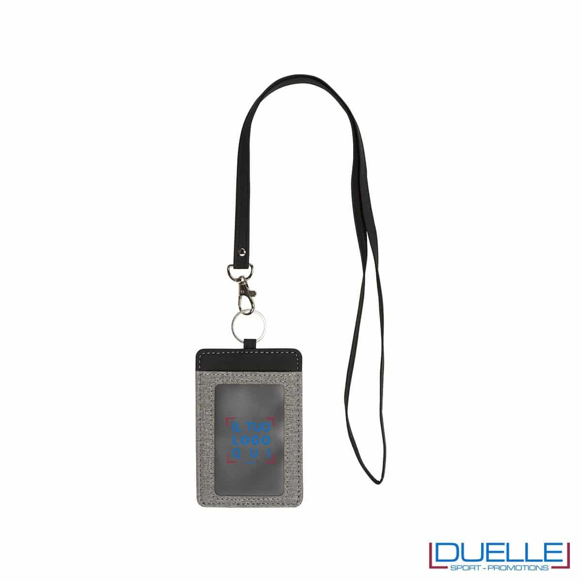 Portabadge grigio melange personalizzato con stampa a colori