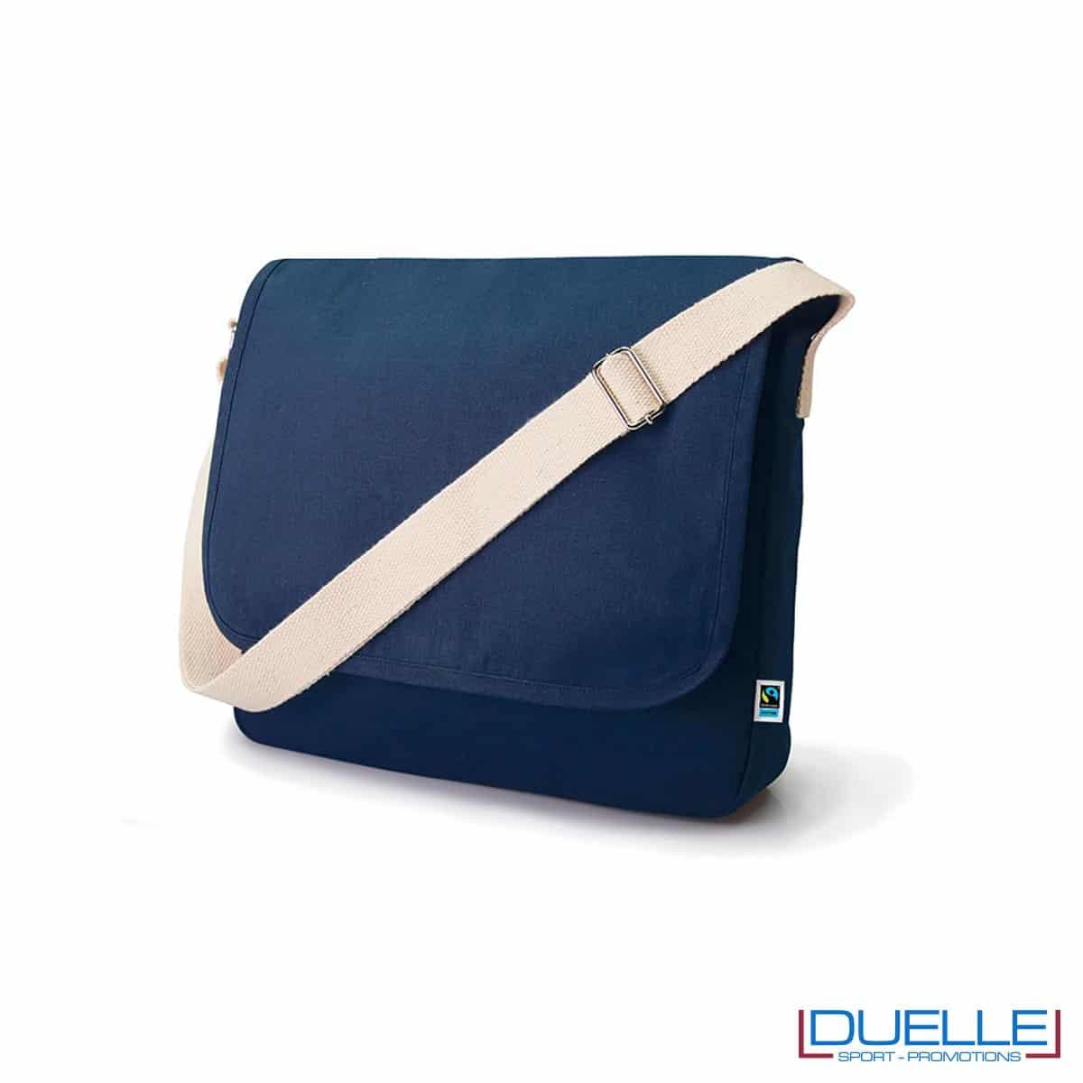 Borsa in cotone biologico OEKO-TEX® con tracolla colore blu navy