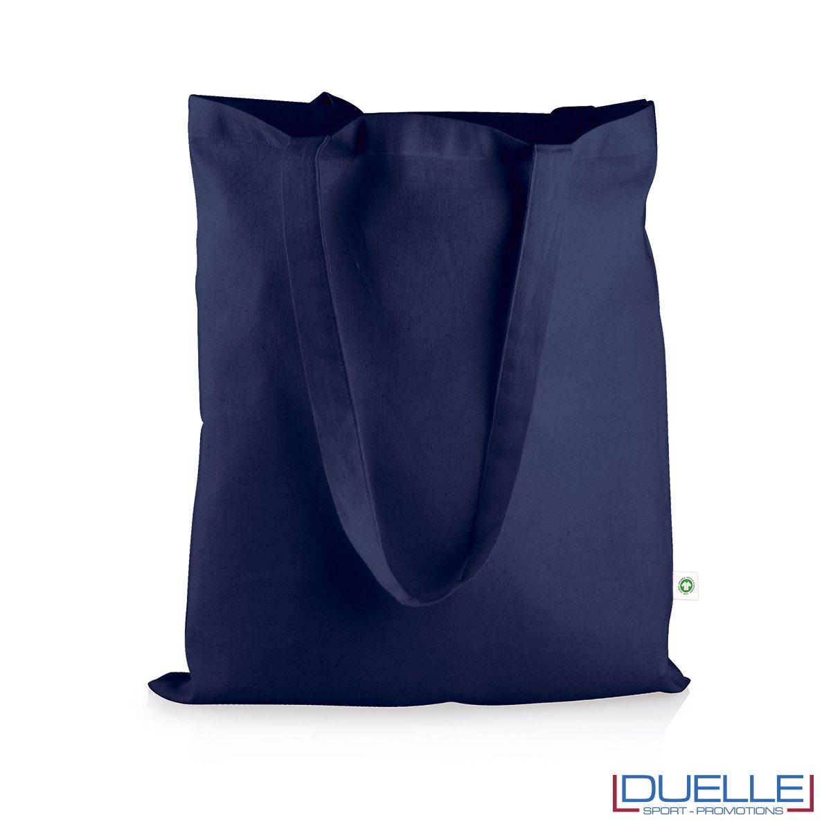shopper in cotone organico certificato colore blu navy