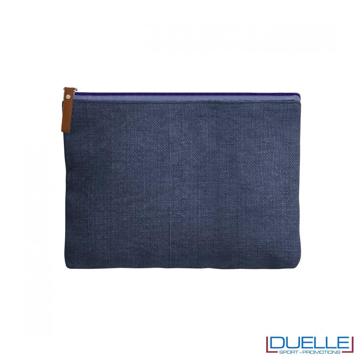 Trousse da viaggio in iuta personalizzato colore blu