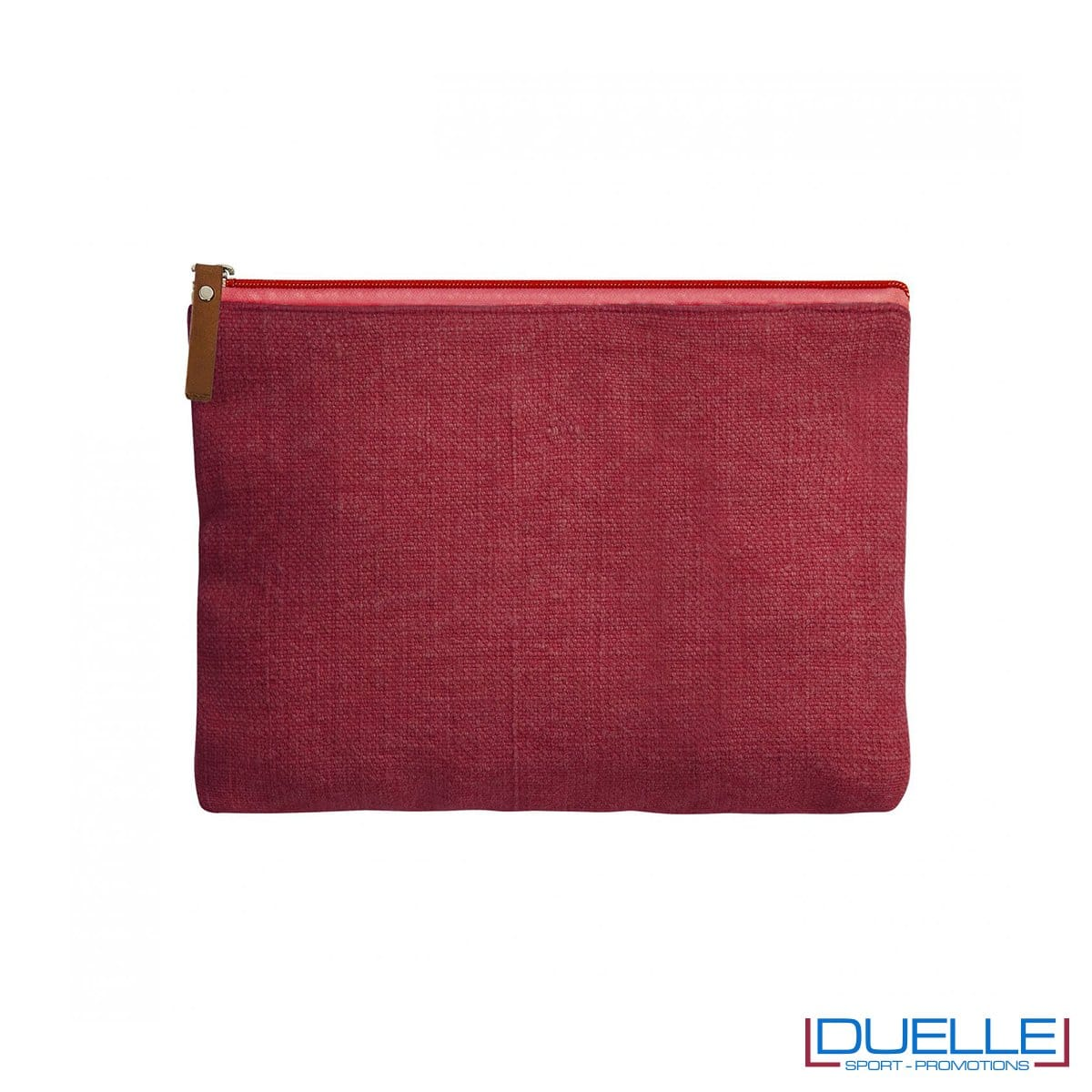 Beauty case da viaggio in iuta personalizzato colore rosso