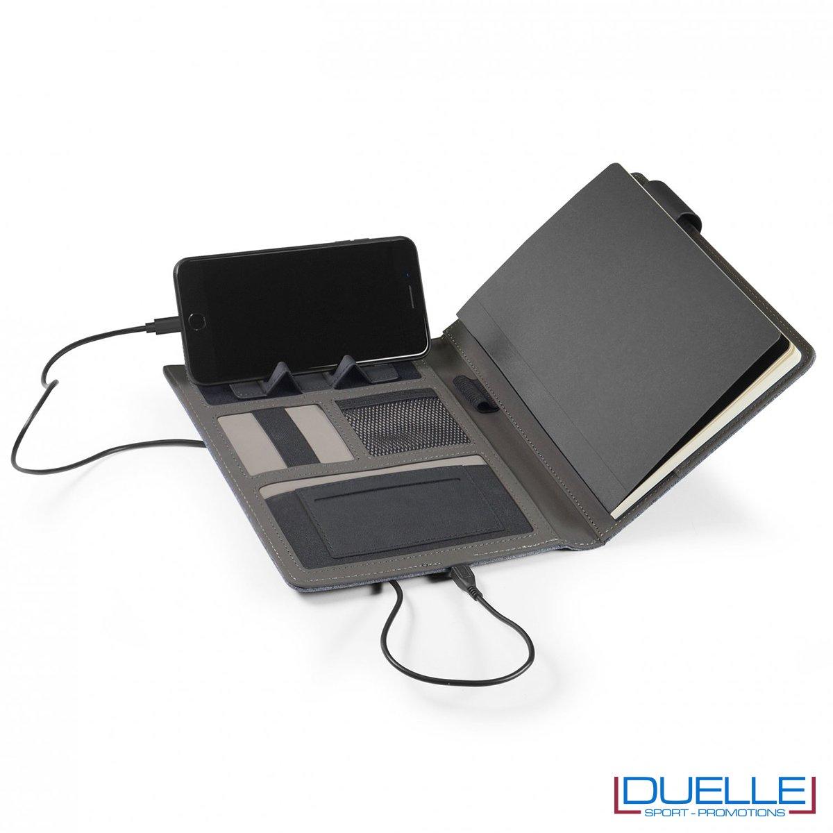 Porta blocco con blocco a5 e caricabatterie da 4000 mAh incorporato