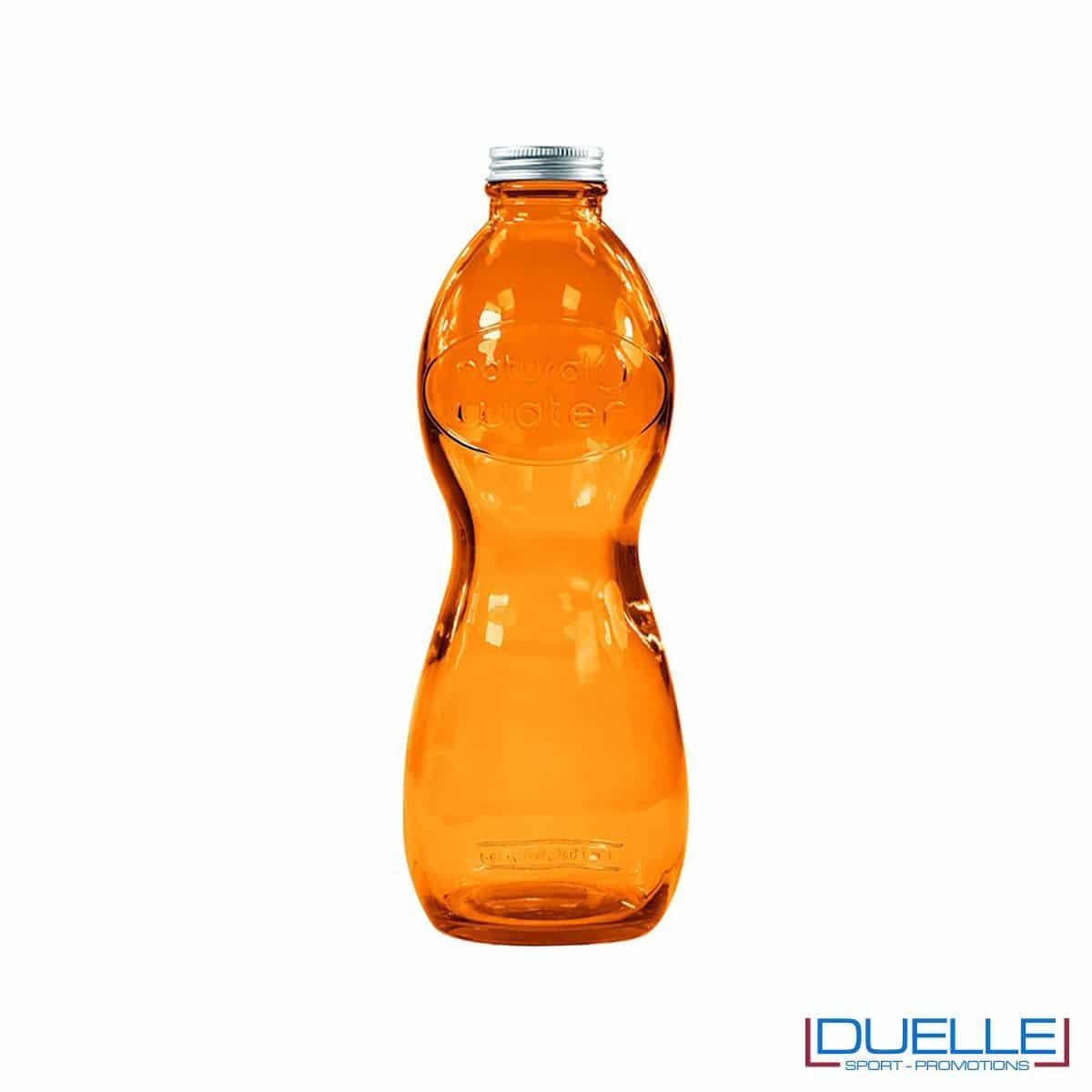 Bottiglia in vetro riciclato personalizzata colore arancione