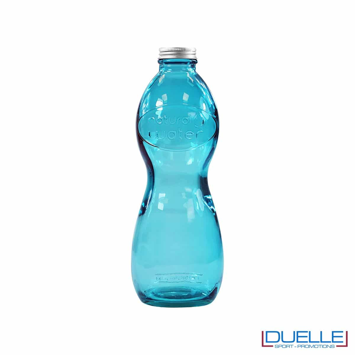 Bottiglia in vetro riciclato personalizzata colore azzurro