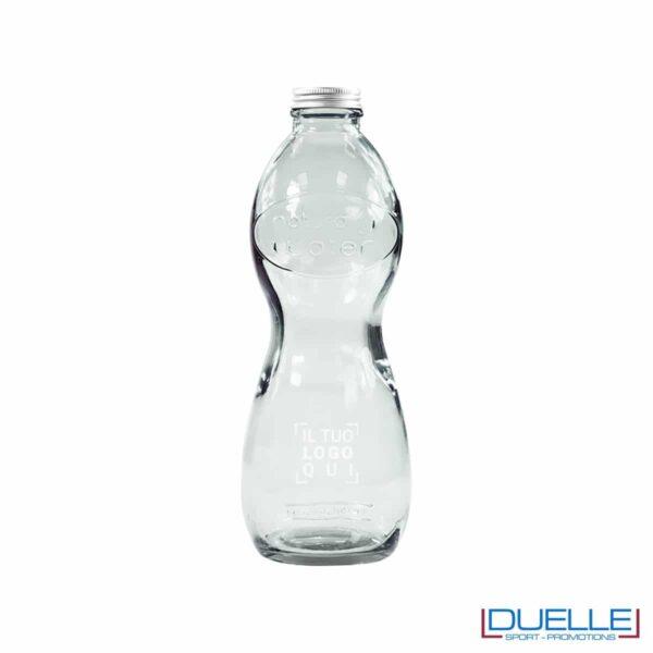 Bottiglia in vetro riciclato, da 1lt, con tappo a vite personalizzata