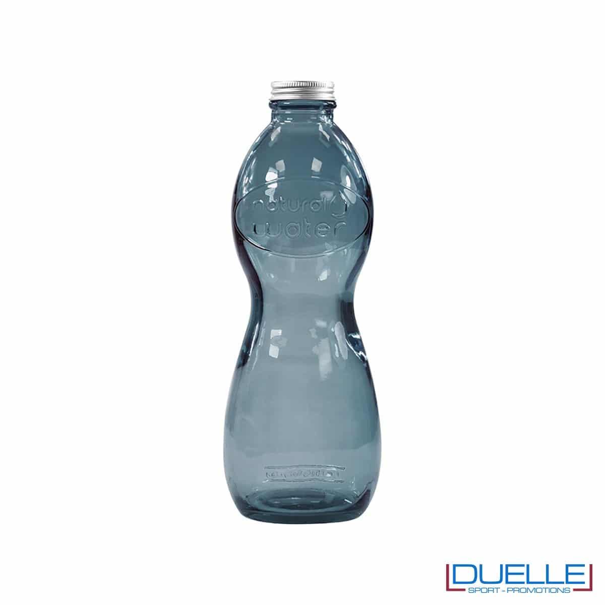Bottiglia in vetro riciclato personalizzata colore blu